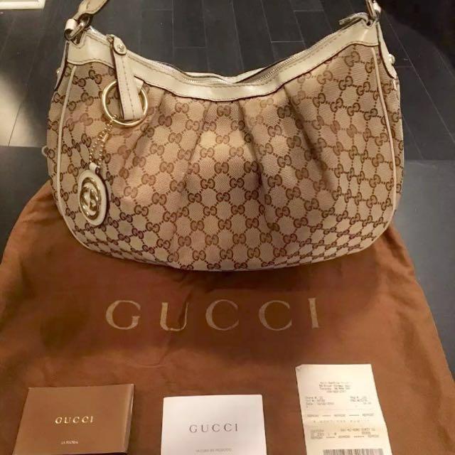 Authentic Gucci Ivory Medium Hobo Shoulder Bag