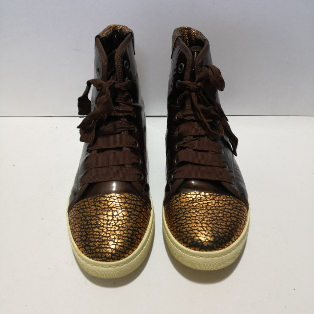 Authentic Lanvin Brown Patent Leather Hi-cut Sneakers for Ladies (Size: 39)