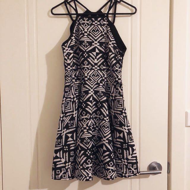 Black and White Backless Skater Dress