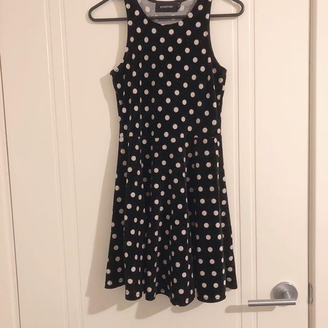 Black and White Polka Dot Skater Dress