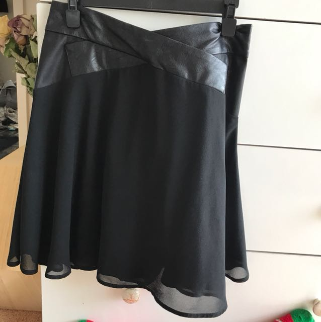 Black leather and chiffon skirt
