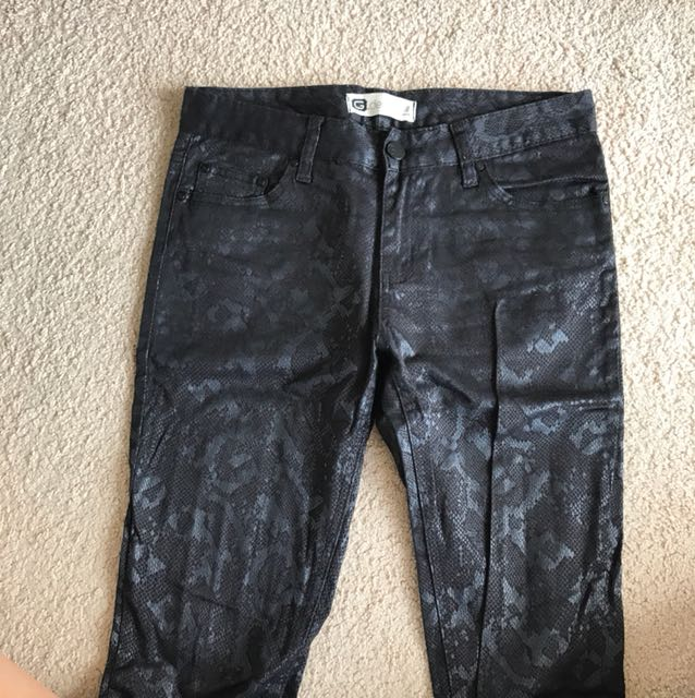 Black leather printed jeans