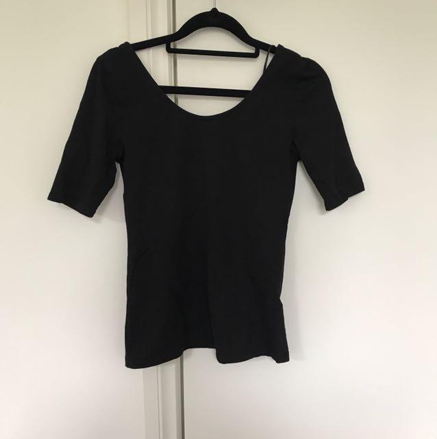 Black low-back top