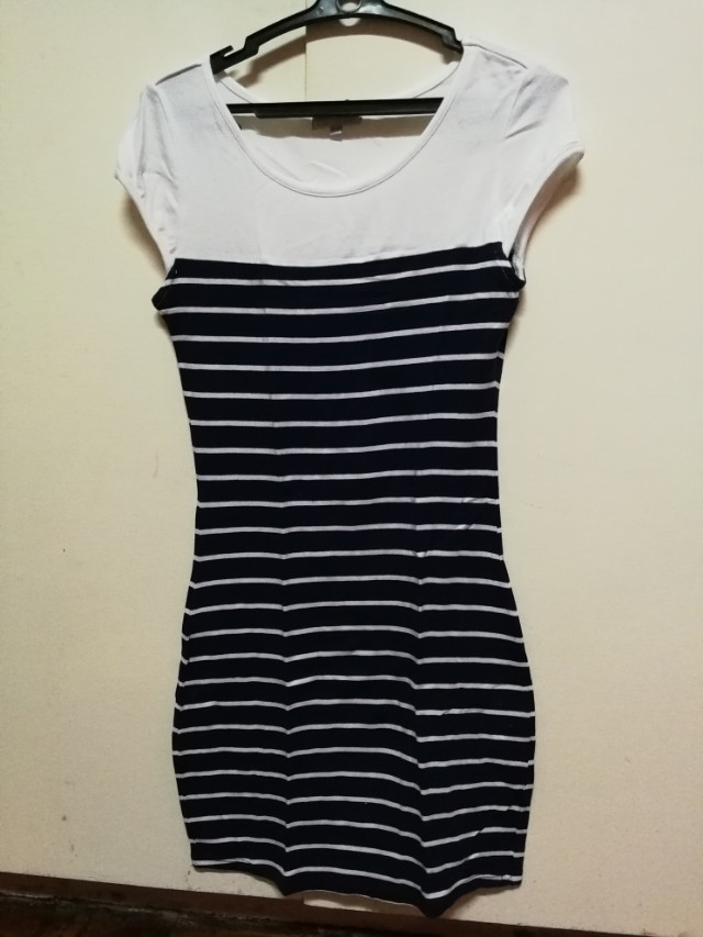Cache cache body fitting body con blue and white stripes dress