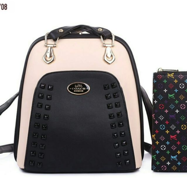 68233f7fd1b8 COACH BACKPACK BAG + FREE LV PURSE GRED A ❗❗ RM99 ONLY ...