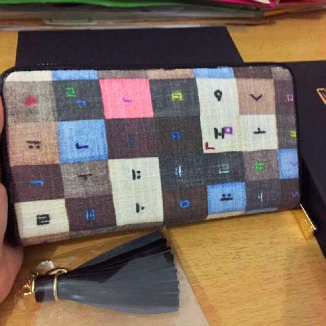 Dompet kulit asli mix canvas tebal, dari korea