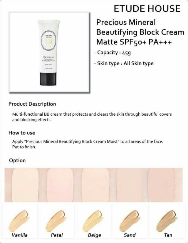 Etude House Precious Mineral BB Cream Matte