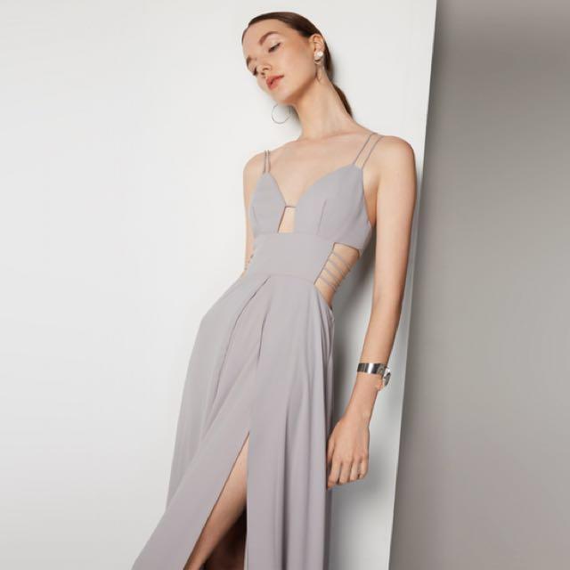 Fame and Partners Light Grey Custom Dress