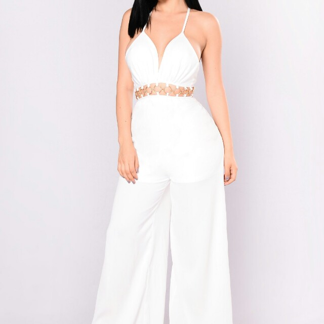 Fashion Nova white jumpsuit size XS