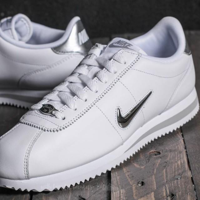new arrival 90263 a82f8 Nike Cortez Basic Jewel White   Metallic Silver, Men s Fashion, Footwear on  Carousell