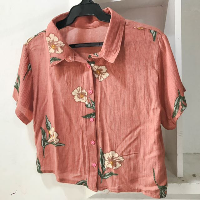 Floral Crop Button-down Polo (new)