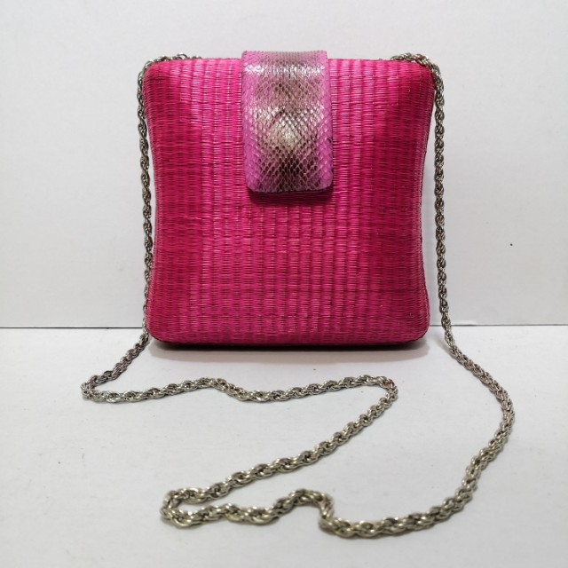 Genuine Snakeskin and Rafia Clutch (Pink) with Metal Strap - Almost New