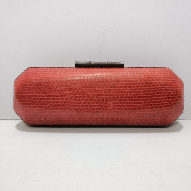 Genuine Snakeskin Structured Clutch (Coral Pink) with Wooden Clasps - Almost New