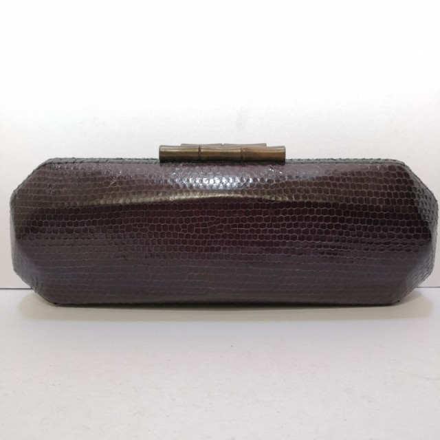 Genuine Snakeskin Structured Clutch (Violet) with Wooden Clasps - Almost New
