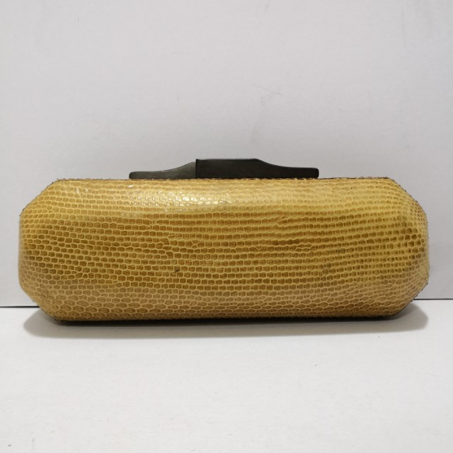 Genuine Snakeskin Structured Clutch (Yellow) with Wooden Clasps - Almost New