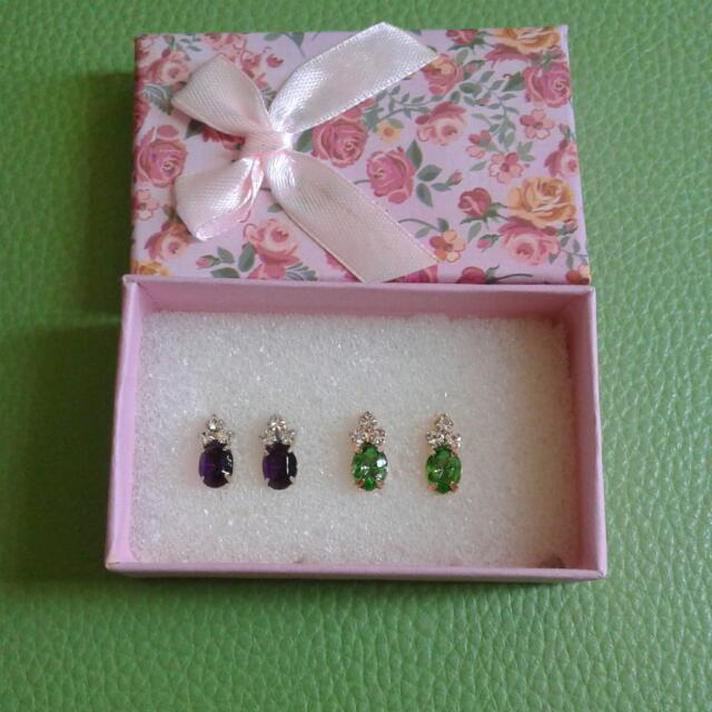 Gold Plated Earrings With Colored Stones