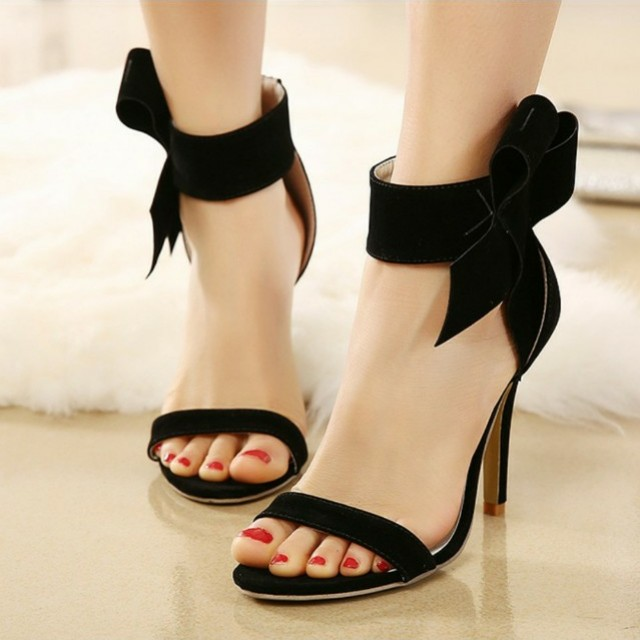 31b09ff27f9 High heels suede korean sandals with bow
