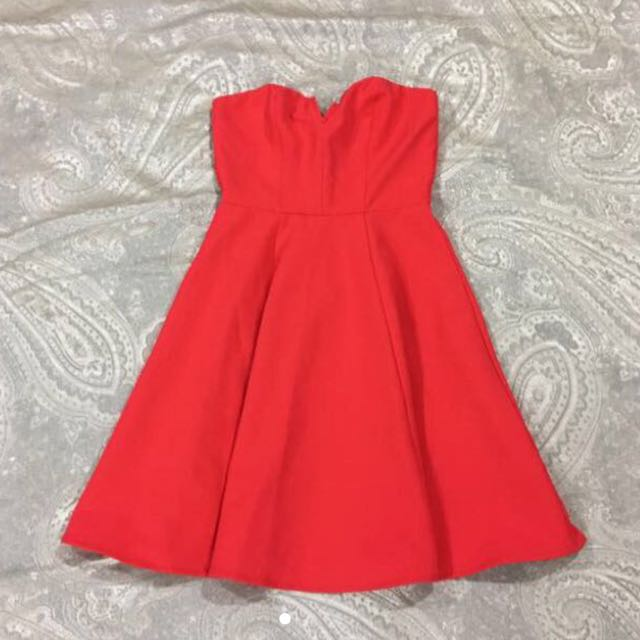 H&M Red Evening Dress with Sweetheart Neckline