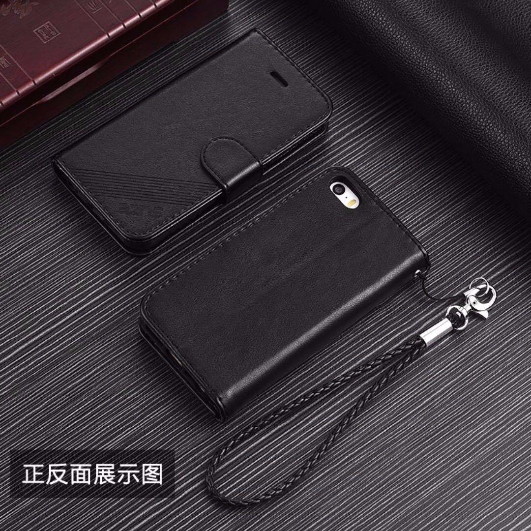 iphone 7/8 翻蓋手機皮套(附掛繩) / 黑