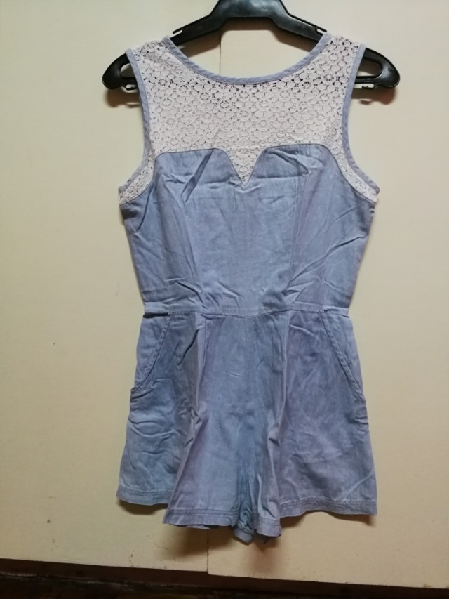 Just g lace and blue romper with pockets