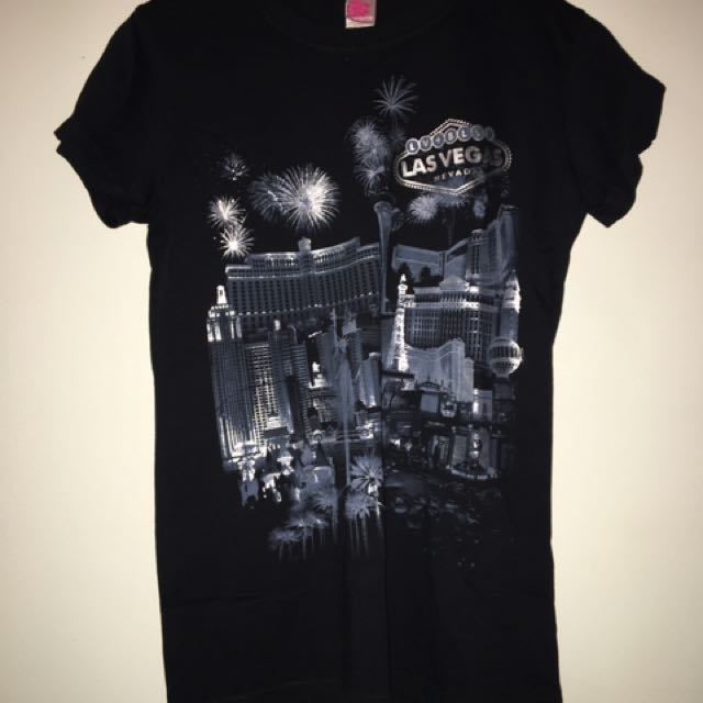 Las Vegas Black Glitter City Print Shirt Top