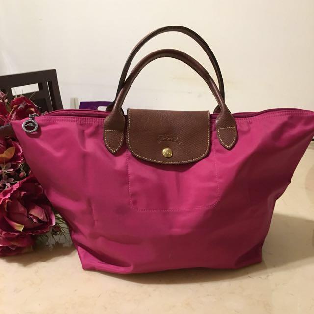 Longchamp桃紅色短柄購物包(正品)M號