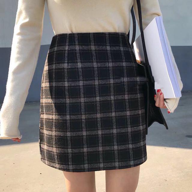 經典格紋加厚短裙-M