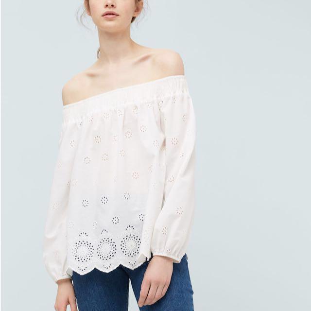 ⤵️Mango Embroidered Off Shoulder Blouse