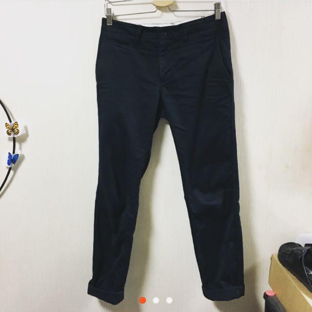 MUJI無印良品男綾織窄版褲深藍73