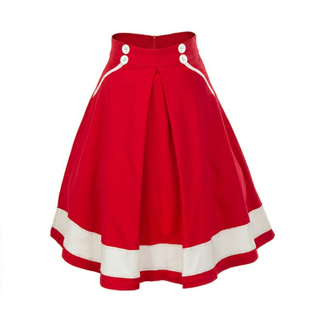 [NEW] Red & White Skirt with buttons