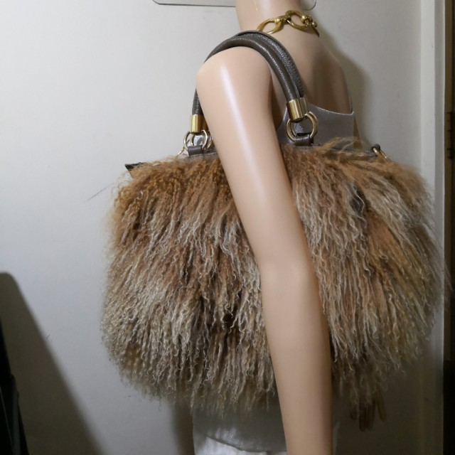 Non-branded Genuine Shearling and Leather Handbag