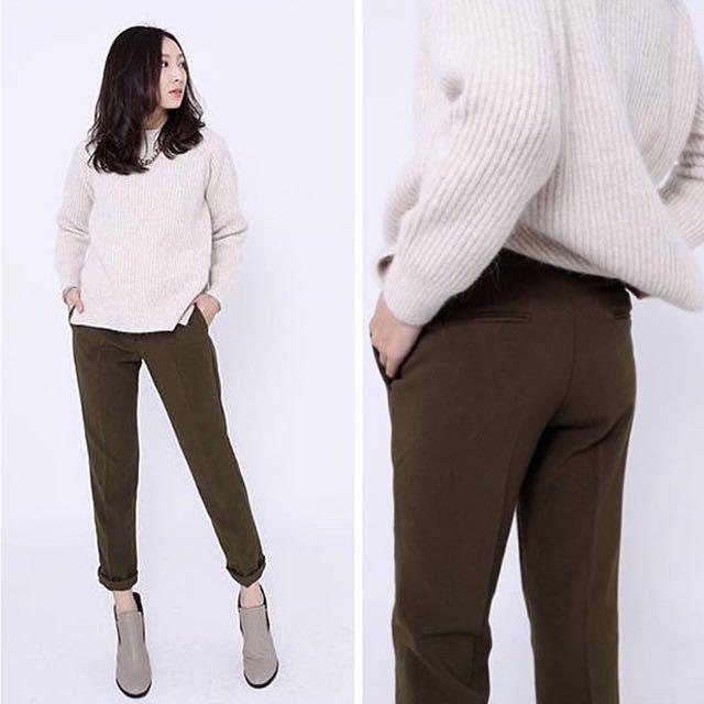 Nude 韓製橄欖綠西裝褲 M