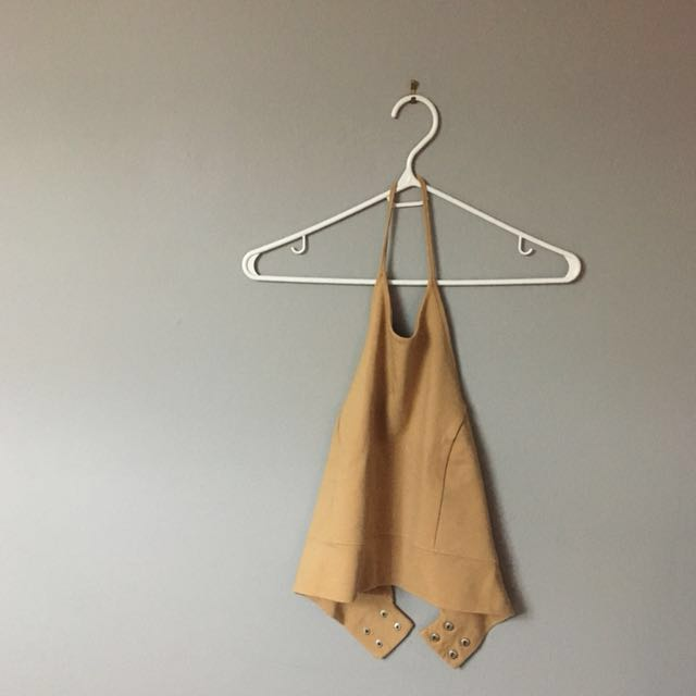 Nude Halter Cropped Top