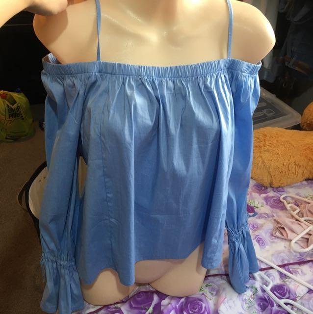 Off shoulder or shoulder top pastel blue