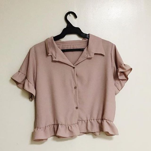 Old Rose ruffle button down top