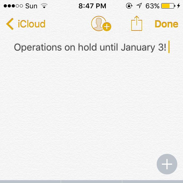 OPERATIONS ON HOLD UNTIL JANUARY 3 HAPPY HOLIDAYS!