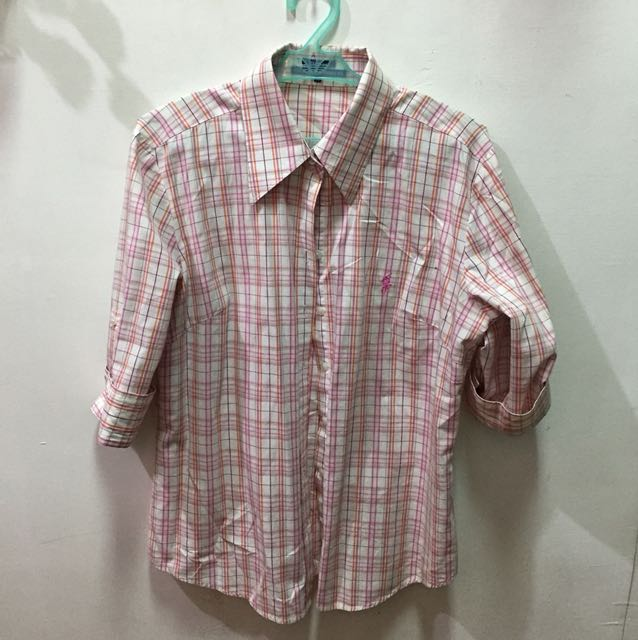 Polo Plaid Button-up Top