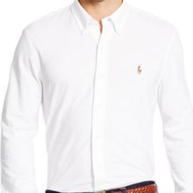 Polo Sleeve Shirt White Knit Long Oxford Ralph Men's Lauren PX8kn0ONw