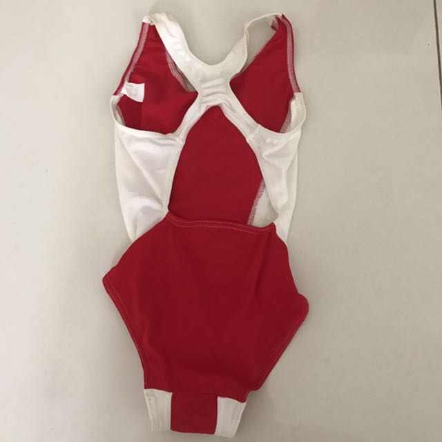 Red and white one piece swimwear