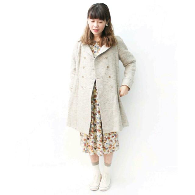 rereburn 日本古著 vintage 卡其色羊毛修身大衣風衣外套