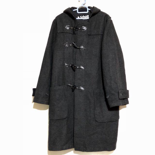 Schott N.Y.C. Duffle Coat Made in USA 🇺🇸 古著羊毛連帽長版大衣 鐵灰 日本進口 11月