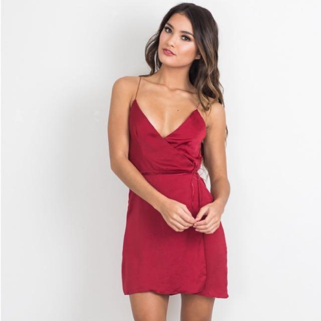 Showpo Red Silk/Satin Wrap Dress Brand New With Tags size 6
