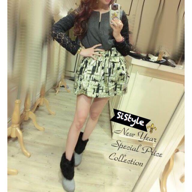 特惠出清【SiStyle】極美金色彈性腰小圓裙