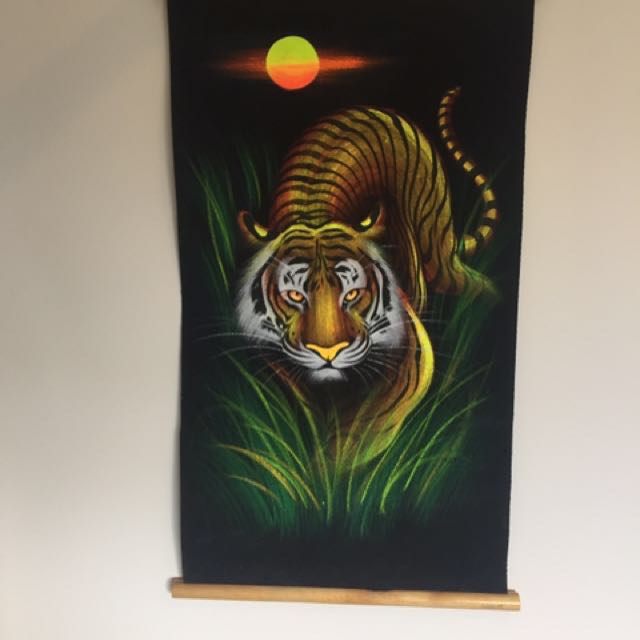 Thai tiger painting on black