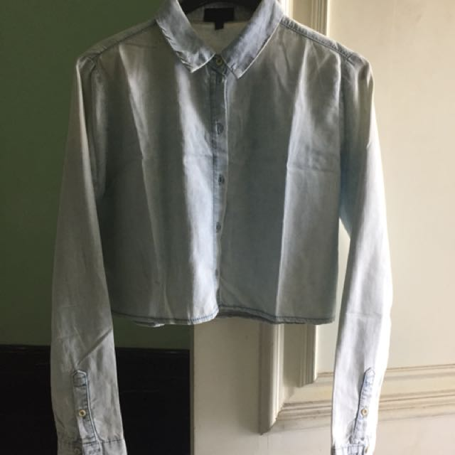 Topshop Cropped Denim Shirt