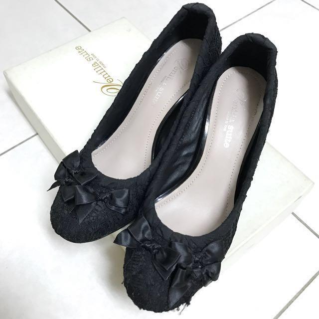Venilla suite black lace high heel 黑色蕾絲蝴蝶結高跟高踭鞋 OL 返工 去飲 grad din