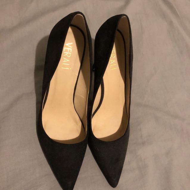 Verali Black Suede Heels