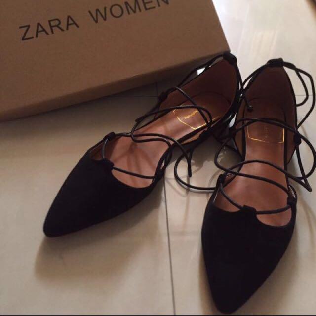 ZARA 綁帶尖頭鞋 40 黑色