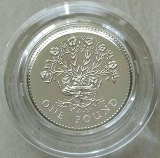 Britain 1986 Pound Proof Silver Coin Complete With Royal Mint Box And COA.