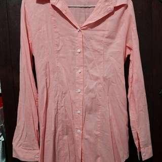 🚚 亮粉橘色收腰襯衫